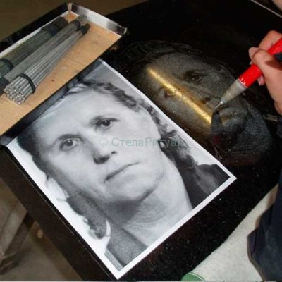 Ручная гравировка портрета на памятниках